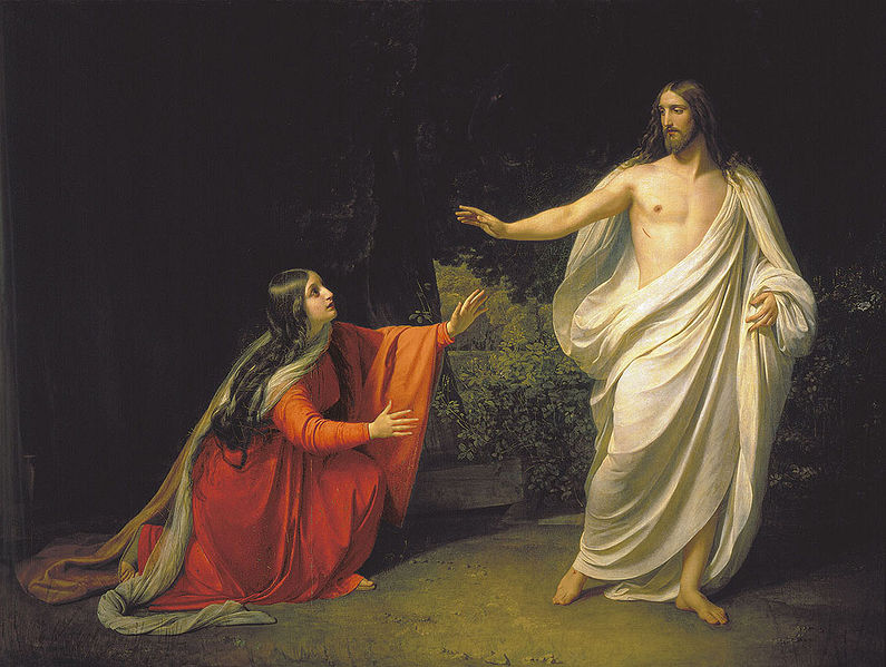 After the weeping Mary recognizes Jesus, in John's gospel, he tells her not to touch him - a scene depicted here by Alexander Ivanov.