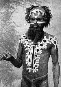 Australian medicine man with magic healing crystal. From the Wellcome Collection