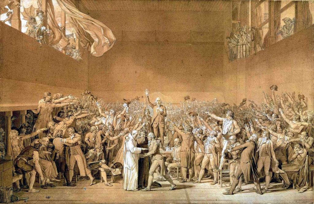 The Tennis Court Oath during the French Revolution