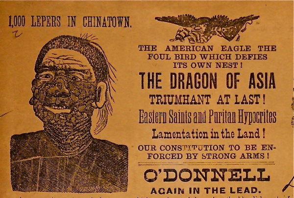 Nineteenth-century pamphlet with an image of person affected by leprosy and text warning of 'The Dragon of Asia'