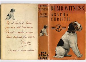 Agatha Christie, Dumb Witness (1937) Christie dedicated the book to her own wire terrier Peter.