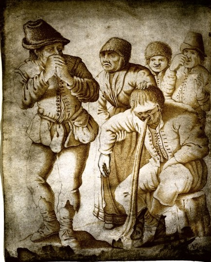 Sepia print showing 5 figures: a seated man vomiting and 4 others behind him holding their noses.