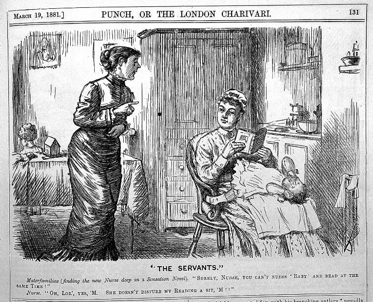 "Cartoon of a nurse reading while watching a baby, titled ""the servants"""